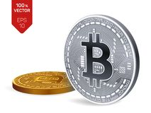 Bitcoin равновеликая физическая монетка бита 3D Cryptocurrency Золотой и серебряная монета с символом bitcoin изолированные на бе Стоковая Фотография RF