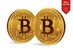 Bitcoin равновеликая физическая монетка бита 3D Cryptocurrency 2 золотых монетки с символом bitcoin изолированной на белой предпо Стоковые Фотографии RF