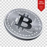 Bitcoin равновеликая физическая монетка бита 3D Cryptocurrency Серебряная монета с символом bitcoin изолированная на прозрачной п Стоковые Изображения