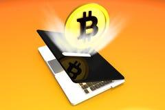 Bitcoin, светлая компьтер-книжка денег Absortion Стоковое фото RF