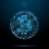 Bitcoin синь низко поли Стоковое Изображение