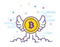 Bitcoin с иллюстрацией квартиры крылов Летание значка Bitcoin в небе Секретная монетка бита валюты Эмблема Cryptocurrency иллюстрация вектора