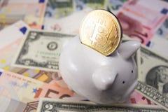 Bitcoin с копилкой Стоковые Изображения