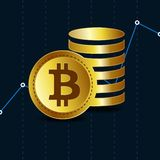 Bitcoin Физическая монетка бита Валюта цифров Cryptocurrency Монетка с символом bitcoin Bitcoin с плоским стилем дизайна иллюстрация штока