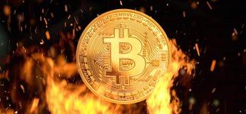 Bitcoin -位硬币BTC隐藏货币金钱燃烧 库存例证