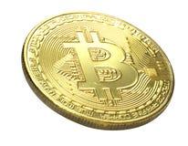 Bitcoin 在白色背景隔绝的金黄Bitcoin 截去 库存图片