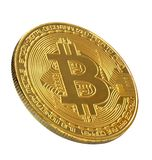 Bitcoin 在白色背景隔绝的金黄Bitcoin 截去 免版税库存图片