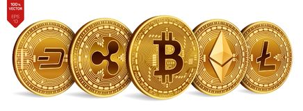Bitcoin 波纹 Ethereum 破折号 Litecoin 3D等量物理硬币 隐藏货币 与bitcoin的金黄硬币 免版税库存图片