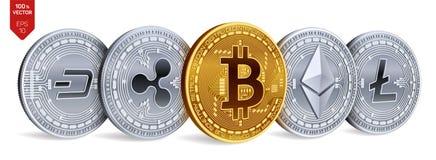 Bitcoin 波纹 Ethereum 破折号 Litecoin 3D等量物理硬币 隐藏货币 与bitcoin,裂口的金黄和银币 免版税库存照片