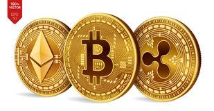 Bitcoin 波纹 Ethereum 3D等量物理硬币 数字式货币 Cryptocurrency 与bitcoin,波纹的金黄硬币和和 免版税库存照片
