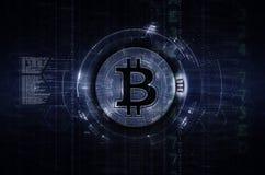 Bitcoin &深蓝blockchain的例证 库存例证