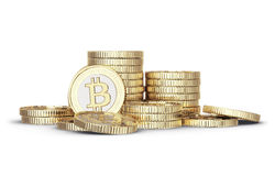 金黄Bitcoin 库存图片