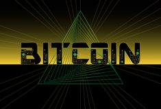 Bitcoin abstract background design with triangle geometric futur. Istic lines and chip. Banner template. Vector royalty free illustration
