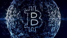Bitcoin abstracte achtergrond, financieel bedrijfsgebied van digitaal geld, munt, uitwisseling, financiën, markt, vector illustratie
