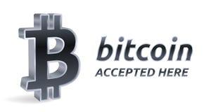 Bitcoin a accepté l'emblème de signe Crypto devise signe argenté isométrique de 3D Bitcoin avec le texte admis ici Chaîne de bloc Photo libre de droits