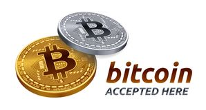 Bitcoin a accepté l'emblème de signe le peu physique d'or 3D et argenté isométrique invente avec le texte admis ici Illustration  Photos stock