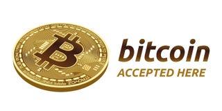 Bitcoin a accepté l'emblème de signe pièce de monnaie physique isométrique du peu 3D avec le cadre et texte admis ici Illustratio Image libre de droits