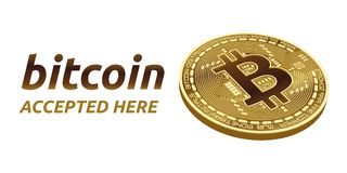 Bitcoin a accepté l'emblème de signe pièce de monnaie physique isométrique du peu 3D avec le cadre et texte admis ici Illustratio Photos libres de droits