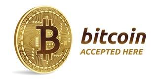 Bitcoin a accepté l'emblème de signe pièce de monnaie physique isométrique du peu 3D avec le cadre et texte admis ici Illustratio Photographie stock libre de droits