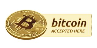 Bitcoin a accepté l'emblème de signe pièce de monnaie physique isométrique du peu 3D avec le cadre et texte admis ici Illustratio Images libres de droits