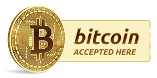Bitcoin a accepté l'emblème de signe pièce de monnaie physique isométrique du peu 3D avec le cadre et texte admis ici Illustratio Image stock