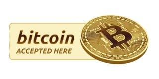 Bitcoin a accepté l'emblème de signe pièce de monnaie physique isométrique du peu 3D avec le cadre et texte admis ici Illustratio Photographie stock