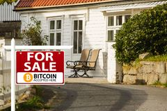 Bitcoin are accepted as payment. Property for sale. Bitcoin are accepted as payment royalty free stock photos