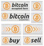 Bitcoin accepted banner set in binary code style. For web usage, printing etc. Vector graphics Stock Images