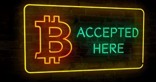Bitcoin accepted here neon 3D