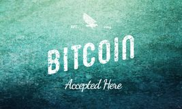 Bitcoin Accepted Here Retro Design White On Blue stock image