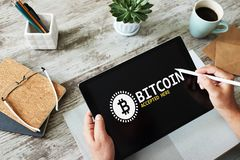Bitcoin accepted here sign on screen. E-payment, Cryptocurrency and financial technology concept. Bitcoin accepted here sign on screen. E-payment stock photos