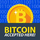 Bitcoin accepted here sticker. Stock Image