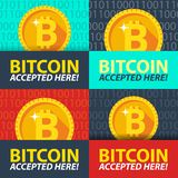 Bitcoin accepted here sticker. Set banners. Vector coin flat design. Advertising template for your website Stock Photos