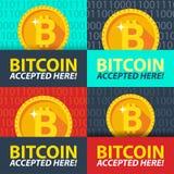 Bitcoin accepted here sticker. Stock Photos