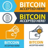 Bitcoin accepted here sticker. Set banners. Vector coin flat design. Advertising template for your website Stock Photography