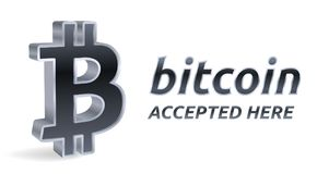 Bitcoin accepted sign emblem. Crypto currency. 3D isometric silver Bitcoin sign with text Accepted Here. Block chain. Stock vector. Illustration Royalty Free Stock Photo