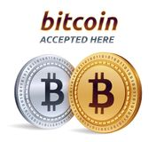 Bitcoin. Accepted sign emblem. Crypto currency. Golden and silver coins with Bitcoin symbol  on white background. 3D isome. Tric Physical coins with text Royalty Free Stock Photography