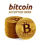 Bitcoin. Accepted sign emblem. Crypto currency. Stack of golden coins with Bitcoin symbol isolated on white background. 3D isometr. Ic Physical coins with text Stock Photos