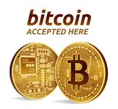 Bitcoin accepted sign emblem. 3D isometric Physical bit coin with text Accepted Here. Crypto currency. Golden coins with. Bitcoin symbol isolated on white Royalty Free Stock Image
