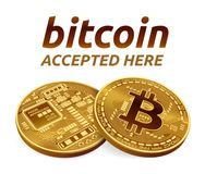 Bitcoin accepted sign emblem. 3D isometric Physical bit coin with text Accepted Here. Cryptocurrency. Golden bitcoins. stock illustration