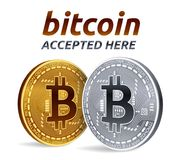 Bitcoin accepted sign emblem. 3D isometric Physical bit coin with text Accepted Here.  Stock Photo