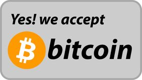 Bitcoin accepted sign on grey background. Stock Images