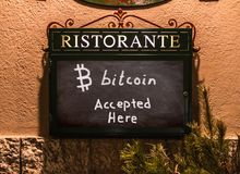 Bitcoin Accepted Sign Restaurant Business royalty free stock photography