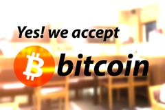 Bitcoin accepted sign with warm light tone. Royalty Free Stock Photography
