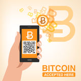 Bitcoin Accepted, Smartphone with QR code Royalty Free Stock Photography