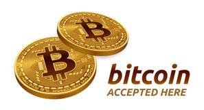 Bitcoin accepterade teckenemblemet isometriskt fysiskt mynt för bit 3D med text som här accepteras Cryptocurrency Guld- Bitcoin m Arkivbilder