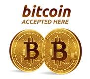 Bitcoin accepterade teckenemblemet isometriskt fysiskt mynt för bit 3D med text som här accepteras Cryptocurrency Guld- Bitcoin m Royaltyfria Bilder