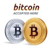 Bitcoin Accepterat teckenemblem Crypto valuta Guld- och silvermynt med det Bitcoin symbolet på vit bakgrund isome 3D Royaltyfri Fotografi