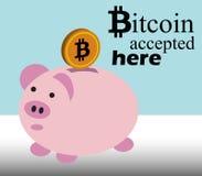 Bitcoin aceitou aqui Imagens de Stock Royalty Free
