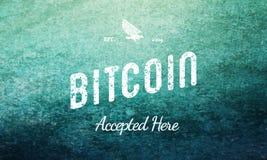Bitcoin aceitou aqui o branco retro do projeto no azul Imagem de Stock
